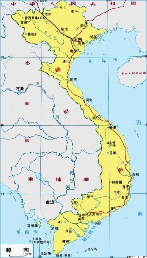 """越南国土形状狭长,从北到南呈""""s""""型"""