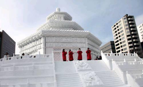 大型雪雕天坛祈年殿亮相札幌冰雪节